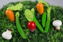 Samlingsfrukter och grönsaker för barn Arkivfoto