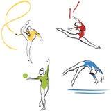 samlingsgymnastikkvinnor Arkivfoto