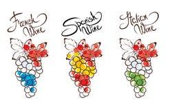 Samlingsillustrationer -- vin från Frankrike, Italien och Spanien Royaltyfri Foto