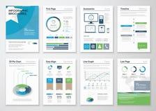 SamlingsInfographics beståndsdelar för affärsbroschyrer Arkivbilder
