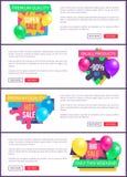 Samlingslandning söker klistermärken för promoen för Sale priser Arkivfoto