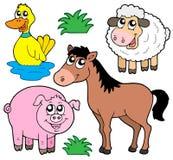 samlingslantgård för 5 djur vektor illustrationer