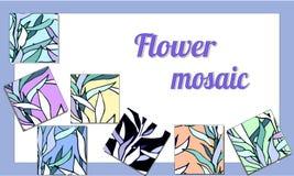 Samlingsmosaik med olikt blom- royaltyfri illustrationer