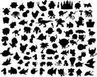 samlingssilhouettevektor vektor illustrationer