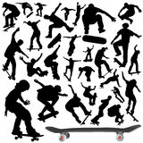 samlingsskateboardvektor vektor illustrationer