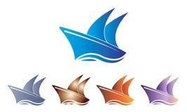 Samlingsskepp Logo Template - segelbåten Logo Template - hav Marine Ship Vector vektor illustrationer
