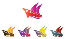Samlingsskepp Logo Template - segelbåten Logo Template - hav Marine Ship Vector royaltyfri illustrationer