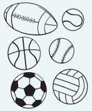 Samlingssportbollar Fotografering för Bildbyråer