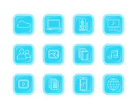 Samlingssymboler av moderna datorrengöringsdukknappar Royaltyfria Bilder