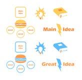 Samlingssymboler för huvudsaklig idé Arkivfoto