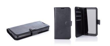 Samlingsuppsättning av den svarta smartphonen i fall att som isoleras på vit bakgrund arkivbild