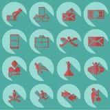 Samlingsuppsättning av det plana symbolsaffärstemat Fotografering för Bildbyråer