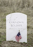 Samll americal flags flap in the wind at a military cemetery Royalty Free Stock Photos