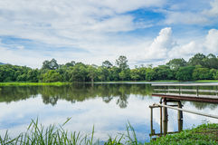 Samll jezioro i mały most Obrazy Royalty Free