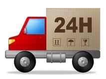 Samma dagleverans indikerar den fördelningsfrakter och lastbilen Arkivfoto
