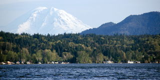 Sammamish Lake with  Rainier  in background Stock Image