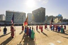 sammanbrottdräktkoreanen tjäna som soldat stil Royaltyfri Bild