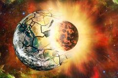 Sammandrabbning av två planeter i öppet utrymme Beståndsdelar av denna avbildar möblerat vid NASA http://www nasa gov/ stock illustrationer