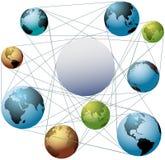 Sammanfoga jordvärldsfärger i globalt nätverk Royaltyfri Bild