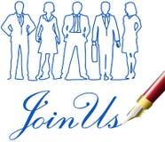 Sammanfoga oss pennan för inbjudan för affärsfolk royaltyfri illustrationer