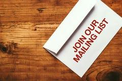 Sammanfoga vår brevskickandelista royaltyfria bilder