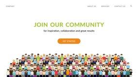 Sammanfoga vår gemenskap Folkmassa av enigt folk som en affär eller idérik gemenskap som tillsammans står vektor illustrationer