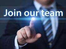 Sammanfoga vårt begrepp för den Team Job Search Career Recruitment Hiring affärsinternet royaltyfria foton