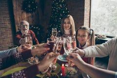 Sammankomst för Noel aftonfamilj, möte Kantjusterad vinglas, jubel royaltyfri fotografi