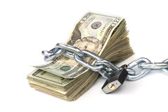 sammankopplinga pengar upp arkivfoto
