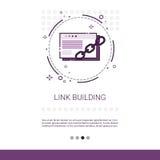 Sammanlänkning som bygger Seo Keywording Search Banner With kopieringsutrymme stock illustrationer