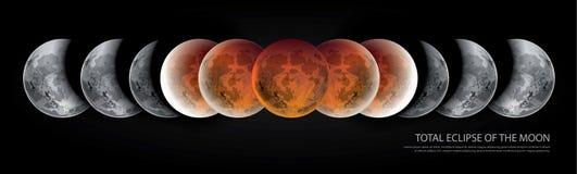 Sammanlagd förmörkelse av månen Arkivbilder