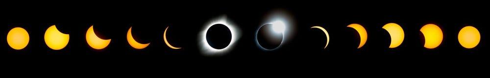 Sammanlagd serie för sol- förmörkelse Royaltyfri Bild