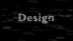 Sammanlagd svart bakgrund med olika ord, som handlar med design Toppen suddig typ Designen innehåller ett vidsträckt av ord royaltyfri illustrationer