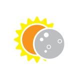 Sammanlagd symbol för sol- förmörkelse på Augusti 8, 2017 Royaltyfri Foto