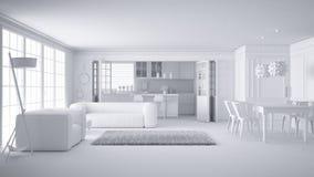 Sammanlagt vitt projekt av minimalist vitt vardagsrum och kök, stort fönster och mattpäls, scandinavian klassisk inredesign vektor illustrationer