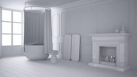 Sammanlagt vitt projekt av tappningbadrummet i klassiskt utrymme med den gamla spisen och parketten royaltyfri foto