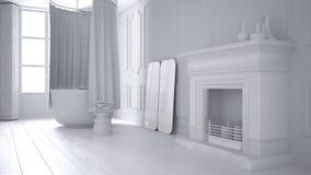 Sammanlagt vitt projekt av tappningbadrummet i klassiskt utrymme med den gamla spisen och parketten royaltyfria foton