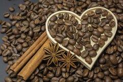Sammansättning av anis, kaffebönor och kanel royaltyfri bild