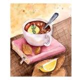 Sammansättning av boken och en kopp te med citronen och mintkaramellen med sidor på trätabellen Vattenfärghöstillustration stock illustrationer