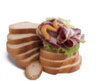 Sammansättning av bröd och skinka Fotografering för Bildbyråer