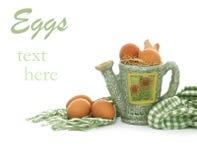 Sammansättning av bruna nya ägg och att bevattna kan o Royaltyfri Fotografi
