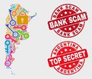 Sammansättning av den avskildhetsArgentina översikten och skyddsremsan för nödlägebankScam stämpel royaltyfri illustrationer