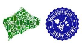 Sammansättning av druvavinöversikten av den lilla Inagua ön och den bästa vinGrungeskyddsremsan vektor illustrationer