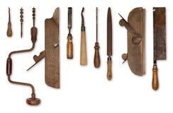 Sammansättning av gamla hjälpmedel för trä Arkivbild