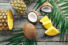 Sammansättning av nya ananas och kokosnötter Royaltyfri Fotografi
