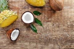 Sammansättning av nya ananas och kokosnötter Arkivfoto