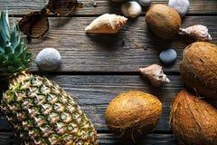 Sammansättning av nya ananas och kokosnötter på träbakgrund Arkivfoton
