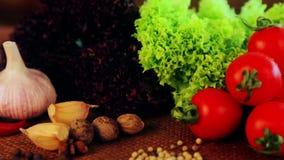 Sammansättning av nya grönsaker och kryddor stock video