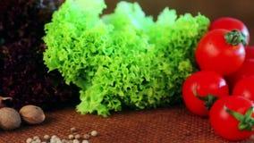 Sammansättning av nya grönsaker och kryddor lager videofilmer