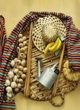 Sammansättning av objekt och mat som används av bönder i kanariefågelöarna Royaltyfri Foto